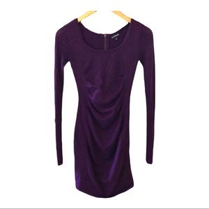 Sparkly Express Maroon Sweater dress formfitting x